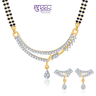 Sukkhi Amazing Cz Gold And Rhodium Plated Mangalsutra Set