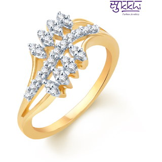 Sukkhi Appealing Gold And Rhodium Plated Cz Ring