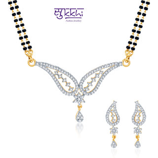 Sukkhi Lavish Cz Gold And Rhodium Plated Mangalsutra Set