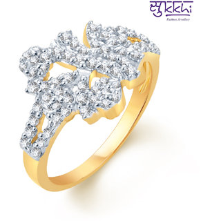 Sukkhi Indian Wedding Gold And Rhodium Plated Cz Ring