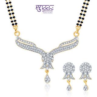 Sukkhi Gleaming Cz Gold And Rhodium Plated Mangalsutra Set