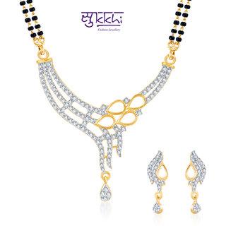 Sukkhi Enchanting Cz Gold And Rhodium Plated Mangalsutra Set
