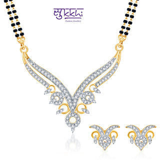 Sukkhi Ravishing Cz Gold And Rhodium Plated Mangalsutra Set