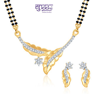 Sukkhi Dazzling Cz Gold And Rhodium Plated Mangalsutra Set
