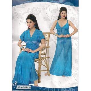 Sheer Sleep Set 2pc Babydoll  Panty Night Dress 4541B Blue Night Dress Bed Lounge Wear Wedding Gift