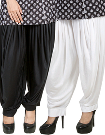 Traditional Punjabi full Patiala salwar. Ready to wear. Combo pack 2 white and black