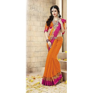 Haritha Fashions Women's Ananya Silk Saree With Blouse - Orange