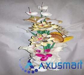 Flower Stand in Chippy  sea shell metrial by handicrafits hight 14inch width 8inch depth 4.5inch wight 500gm