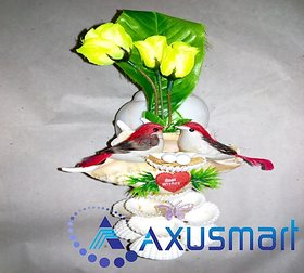 Flowers with vase  in chippy sea shell metrial by handicrafits hight 12.5inch width 7inch depth 4.5inch wight 250gm