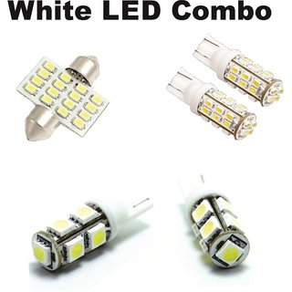 White LED Combo for Cars - 28 SMD Parking, 16 SMD Roof, 9 SMD Number Plate Light
