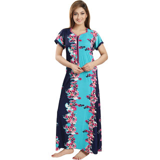 Be You Fashion Multicolor Satin Floral Night Gowns & Nighty