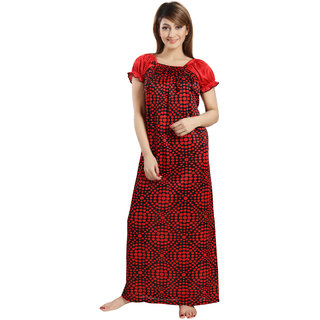 Be You Fashion Red Satin Polkadot Night Gowns & Nighty