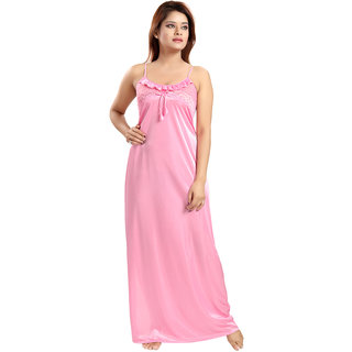 Be You Fashion Pink Satin Plain Night Gowns & Nighty