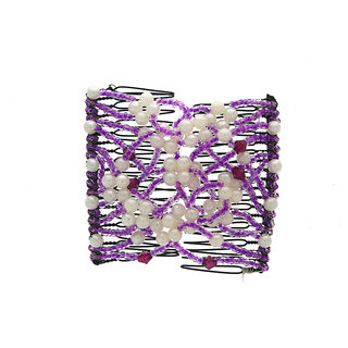 Anuradha Art White-Purple Colour Very Classy Pretty Styled With Beads Designer Hair Accessories Hair Band For Women/Girls