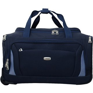 4e00847123 TIMUS MOROCCO BLUE 2 WHEEL DUFFLE TROLLEY BAG FOR TRAVEL (CABIN ...