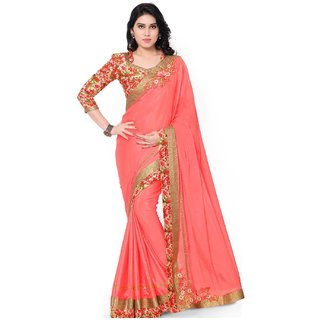 DesiButik Pink Chiffon Embroidered Saree With Blouse