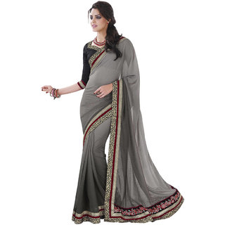 DesiButik Grey Jacquard Embroidered Saree With Blouse