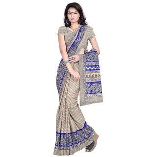 DesiButik Beige & Blue Cotton Embroidered Saree With Blouse