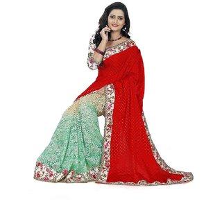 Sareeka Sarees Red Silk Printed Saree With Blouse