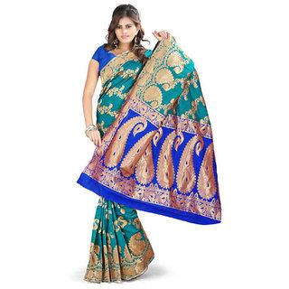 Sareeka Sarees Green Banarasi Silk Printed Saree With Blouse