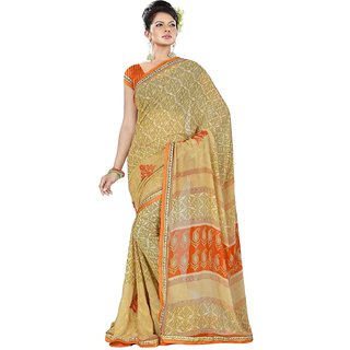 Aradhya Fashion Designer Printed With Embroidery Georgette Green Sari