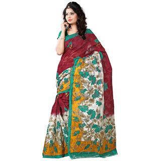 Sareeka Sarees Multicolor Bhagalpuri Silk Printed Saree With Blouse