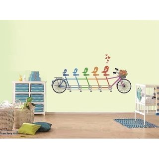 Asmi Collections PVC Wall Stickers Cute Love Birds on Cycle