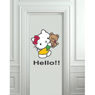 Asmi Collections PVC Wall Stickers Cute Hello Kitty