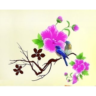Asmi Collections PVC Wall Stickers Beautiful Tree Branches Birds Pink Flowers
