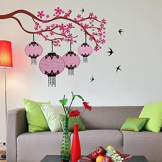 Asmi Collections Wall Stickers Beautiful Branch Pink Flowers Kandeel and Birds