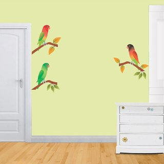 Asmi Collections Wall Stickers Beautiful Parrots on Tree Branches