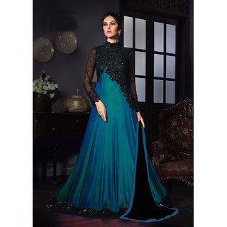 Womaniya Online  Sky  Black Embroidered Tapeta Anarkali Suit