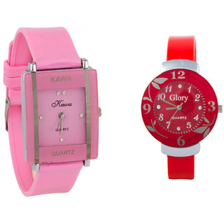 Glory  Combo Of Two Watches-Baby Pink Rectangular Dial Kawa And Red Circular Dial Watches by uttam exim