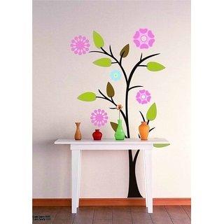 Asmi Collections PVC Wall Stickers Beautiful Sun Flowers Tree