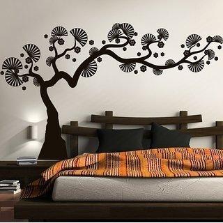 Asmi Collections PVC Wall Stickers Black Bonsai Tree