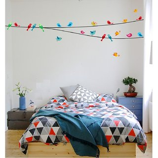 Asmi Collections Wall Stickers Beautiful Colorful Birds on a String