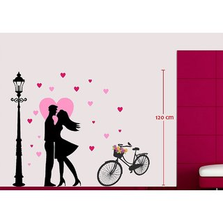Asmi Collections Wall Stickers Beautiful Love Couple Near A Lamp Post