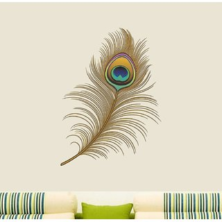 Asmi Collections Wall Stickers Beautiful Peacock Feather