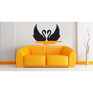 Asmi Collections Wall Stickers Two Romantic Swan