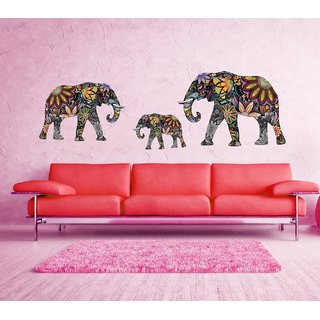 Asmi Collections Wall Stickers Beautiful Elephant Family
