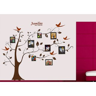 Asmi Collections Wall Stickers Family Photo Tree and Birds - All Brown