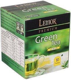 Lemor Lemon Flavored Green Tea Bag box (One Pack of 10 Teabag pieces) for Healthy Indian Beverage Drinkers (Brand Outlet
