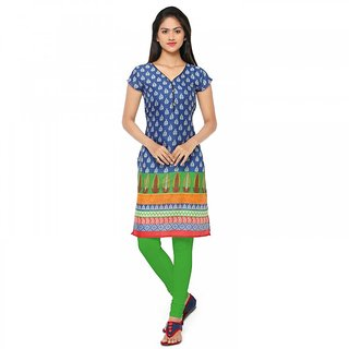 Womaniya Onine Blue  Multi Printed Cotton  Stitched Kurti