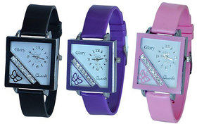 Glory Women Three Color Fancy Casual Watches Combo Of -