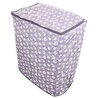 Glassiano Grey floral washing machine cover for semi automatic machine for Panasonic NA-W72B2HRB 7.2 Kg  Washing Machine