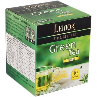 Lemor Tulsi Flavored Green Tea Bag box (One Pack of 10 Teabag pieces) for Healthy Indian Beverage Drinkers (Brand Outlet