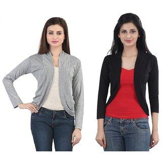 Buy Bfly Women s Gray Black Viscose Shrug Online - Get 61% Off e2bebd6b1