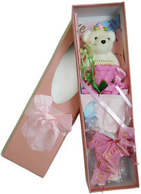 Sova Flower Buke-Teddy Artificial Flower Gift Set