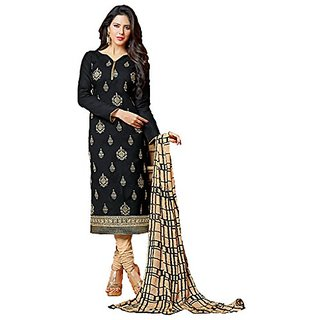 Royal Fashion Black Color Cotton Printed Designer Dress Materials (Unstitched)