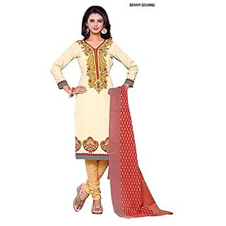 Royal Fashion New Latest Designer Ptinted Beige Color Straight Cut Un-Stitched Dress Material.